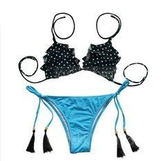 da27e9b8854 Plavky dámské dvoudílné s třásněmi černo-modré – dámské plavky + POŠTOVNÉ  ZDARMA Na tento