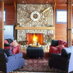 50 Colorful, Cozy Spaces | Warm and Welcoming | CoastalLiving.com - love the fireplace!