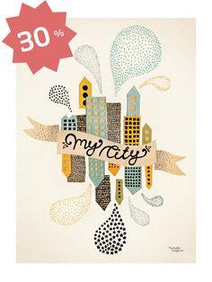 My City Two Poster. - Michelle Carlslund Illustration