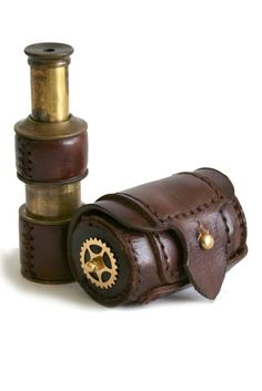 ~ Steampunk Brass Telescope With Leather Case ~