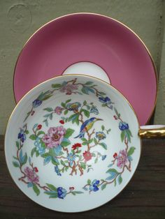 AYNSLEY PINK W BLUE BIRD & FLOWERS PEMBROKE LARGE TEA CUP & SAUCER GOLD RIMMED