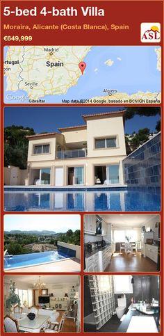 5-bed 4-bath Villa in Moraira, Alicante (Costa Blanca), Spain ►€649,999 #PropertyForSaleInSpain