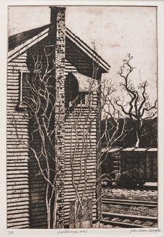 """""""White River Switch House."""" Etching. Graphic Artwork, Artwork, Etching"""