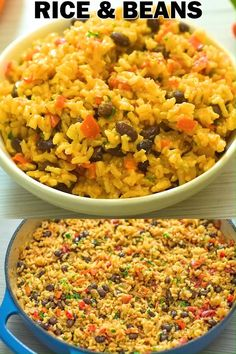 Easy Red Rice and Beans Rice Recipes For Dinner, Mexican Food Recipes, Vegetarian Recipes, Healthy Recipes, Vegan Vegetarian, Crockpot Recipes, Cooking Recipes, Oats Recipes, Pumpkin Recipes