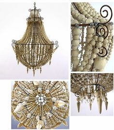 Majestic chandelier made from beads of hand rolled mud by Mud Studio, South Africa Beaded Chandelier, Chandelier Lighting, Dinning Table Centerpiece, Ethnic Bedroom, African Room, Entrance Lighting, South African Design, Thatched House, African Home Decor