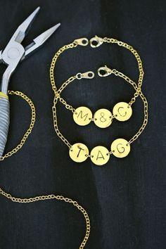 Gold Bracelet: Stamped initial bracelet | Monogram Bracelet