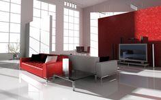 Red Living Room Interior Design: modern minimalist red white home living room interior design