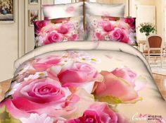 Colorida rosa rosa de algodão 4 peças de roupa de cama jogo de cama e roupa de cama jogo de cama colcha capa de têxteis-...