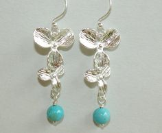 PICK your Gemstone  SILVER Cascading ORCHID Flower by WrappedinYou, $11.50