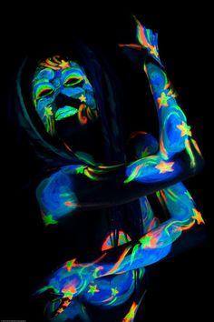 blacklight bodypaint series, this is celestial. Photography by Steve DeMent, model: Eva Strangelove