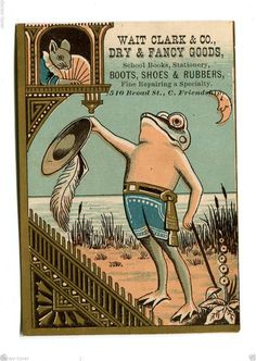 Victorian Trade Card Wait Clark Co Dry Goods Shoes Frog Romeo Mouse Juliet | eBay