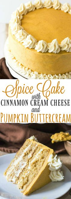 Delight in Fall flavors with this tasty Spice Cake with Cinnamon Cream Cheese and Pumpkin Buttercream that will make your taste buds go wild! Good Cake for everyday Brownie Desserts, Mini Desserts, Fall Desserts, Just Desserts, Delicious Desserts, Dessert Recipes, Yummy Food, Thanksgiving Deserts, Fall Cake Recipes