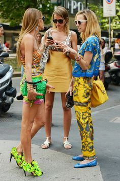 Street style by Tommy Ton. - Love the blue and yellow.