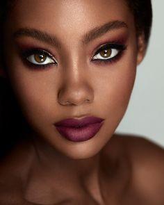Black Girl Makeup, Girls Makeup, Black Is Beautiful, Beautiful Eyes, Beauty Skin, Beauty Makeup, Casual Makeup, Bold Lipstick, Dark Skin Makeup