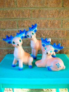 Blue Reindeer Set Mid Century Kitsch Deer Christmas Decor