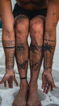 Thigh Tattoo Men, Forearm Sleeve Tattoos, Tattoo Sleeve Designs, Tattoo Designs Men, Back Of Leg Tattoos, Palm Tattoos, Black Ink Tattoos, Mini Tattoos, Body Art Tattoos