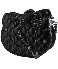 Hello Kitty Quilted Studded Black Shoulder Bag
