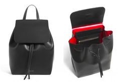 Mansur Gavriel Black Backpack | Remodelista A very expensive backpack, but it's so pretty with the contrasting interior.