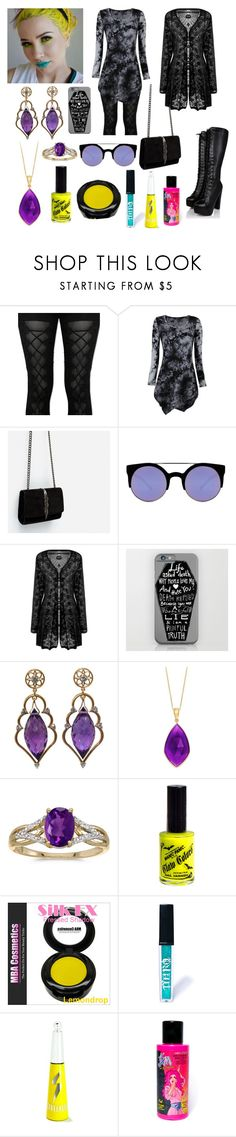 """""""Neon and black💛💙💜"""" by jeanettebeatrice ❤ liked on Polyvore featuring Zara, Quay, Wayne Smith Jewels, BillyTheTree, Manic Panic NYC, Nero Cosmetics and Streekers"""