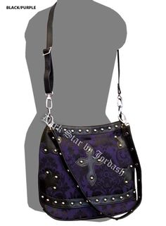 Dark Star Black and Purple Brocade Gothic PVC Cross Purse Cross Purses, Pvc Trim, Angel Outfit, Dark Star, Gothic Accessories, Purple Bags, Alternative Fashion, Gothic Fashion, Purple And Black