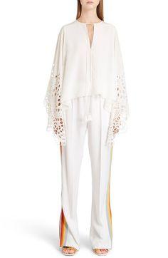 CHLOÉ Broderie Anglaise Angel Sleeve Silk Blouse. #chloé #cloth #