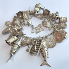 LOADED VINTAGE STERLING SILVER CHINESE JAPANESE ASIAN THEMED CHARM BRACELET #Unbranded