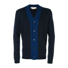 MARNI Panelled v-Neck Cardigan (1.850 BRL) ❤ liked on Polyvore featuring men's fashion, men's clothing, men's sweaters, blue, mens navy blue v neck sweater, mens v neck cardigan sweater, mens vneck sweater, mens blue sweater and mens v neck sweater