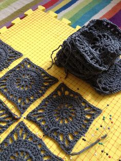 Blocking crochet squares  pattern available for square