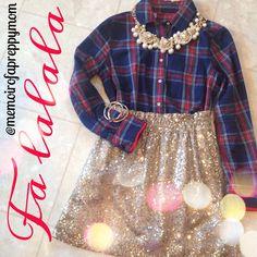 J Crew Sequin skirt + Tartan  (@memoirofapreppymom IG)