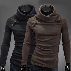 2013 Design Stylish Men's Slim Fit Heap Collar Knitwear Base Shirt in Size XS~L #Unbranded #HeapCollarKnitwear