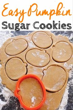 A rolled sugar cookie dough recipe that has a hint of pumpkin and pumpkin spice…. A rolled sugar cookie dough recipe that has a hint of pumpkin and pumpkin spice. Easy to make and perfect for Fall, Halloween and Thanksgiving. Rolled Sugar Cookies, Roll Cookies, Sugar Cookie Dough, Cookies Et Biscuits, Pumpkin Spice Sugar Cookies Recipe, Cookie Dough Recipes, Sugar Cookie Recipes, Pumpkin Sugar Cookies Decorated, Candied Pumpkin Recipe