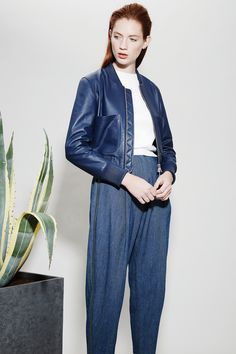 Look 6 - Claudia Leather Bomber | Leander Denim Trousers