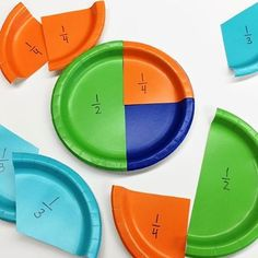 Super smart way to teach equivalent fractions, ordering fractions, comparing fractions, etc. My new FAVORITE way to introduce fractions! We even use them to help us order fractions on a number line. Colored paper plates from dollar store. Fractions Équivalentes, Teaching Fractions, Teaching Math, Ordering Fractions, Comparing Fractions, Fractions For Kids, Finding Equivalent Fractions, Teaching Ideas, Dividing Fractions