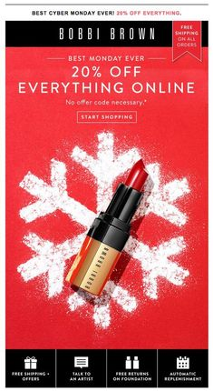 Enjoy 2 - Sales Email - Ideas of Sales Email - Bobbi Brown Cyber Monday sale email. Enjoy off Every Order Email Marketing Design, E-mail Marketing, Marketing Automation, Christmas Poster, Christmas Ad, Xmas, Bobbi Brown, Web Design, Design Layouts