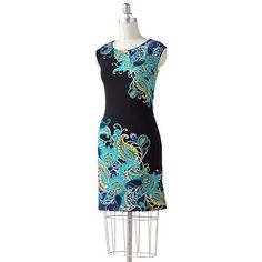 On trend blue paisley pleated sheath dress - an updated version of the standard summer staple, with pleats and a great print. Wear with dark or light blue print heels and a large silver cuff.