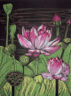 Woodblock Prints - EdamamePress ~ Artist Amanda Gordon Miller - lotus