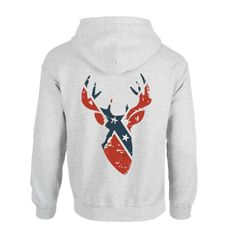 """This Rebel Flag Buck"""" design is a hit on Tee's! We thought you Rebels would love the option on the back of a Hoodie! 8 ounce 50% cotton/50% polyester pre-shrunk fleece knit - Quarter-turned to elimina"""