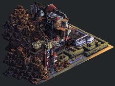 SteamPunk mansion in pixel art. I've always loved pixel art and this picture is just breathtaking. I want somebody to build a game around this. :)