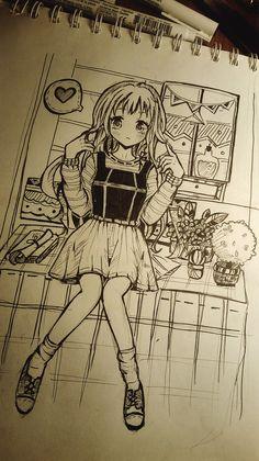 so cute <3  #manga  #art #anime #kawaii #moe #drawing haha ;) By me .. her name is Lam
