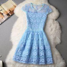 #590 Short-Sleeved Embroidered Floral Dress