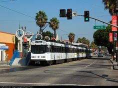 A Los Angeles Metro blue line train stops at the aptly named Pacific Station at the corner of Pacific Ave. and St. in Long Beach. Blue Line Train, Bus City, Ferrari Racing, Light Rail, Public Transport, Long Beach, Transportation, Angels, California