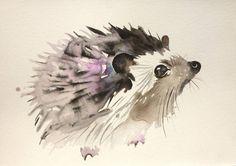 "Saatchi Art Artist Kristina Broza; Painting, ""Violet hedgehog"" #art"
