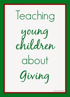 Teaching young children about Giving from Fun at Home with Kids