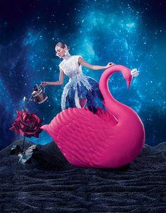 Fashion mas não faria o cisne desta cor, seria violeta elétrico, Pelo menos não teve a idiota idéia de colocar aquário como Branca de Neve.. me poupe..,