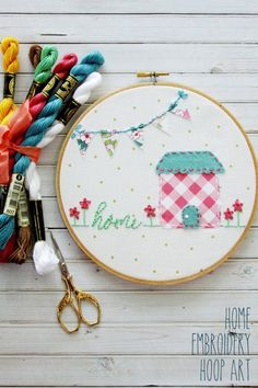 This sweet Home Embroidery Hoop Art is such a fun project to make and it's a perfect hoop for a beginner to embroidery! It would be a great handmade Mother's Day gift too!