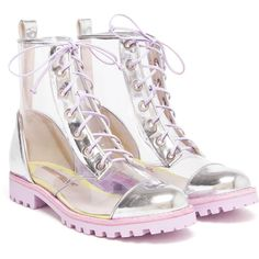 SOPHIA WEBSTER Transparent PVC Boots with Heart Dot Socks (€515) ❤ liked on Polyvore featuring shoes, boots, ankle booties, lace up booties, almond toe boots, lacing boots, military boots and lace-up ankle booties