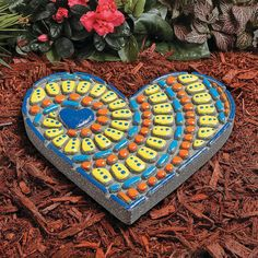 Painted Stepping Stones, Painted Rocks, Stepping Stone Crafts, Color Plan, Mosaic Madness, Rock Design, Stone Heart, Button Art, Creative Activities