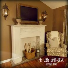 My Ugly Split-level: Living Room Update DIY fireplace Faux Mantle, Faux Fireplace Mantels, Diy Mantel, White Fireplace, Living Room Update, My Living Room, Home And Living, Diy Home Decor, Room Decor