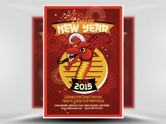 Illustrated Chinese New Year Flyer Template 1 - FlyerHeroes Psd Templates, Flyer Template, Moon Symbols, Bars And Clubs, Red Dragon, African Design, Hand Illustration, Chinese New Year, Beautiful Hands