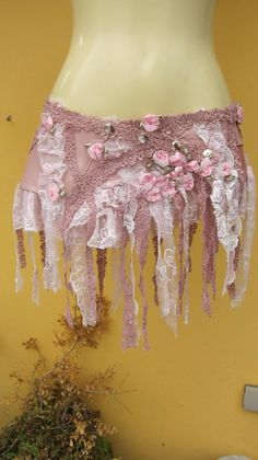 BURNING MAN leather mini skirt belt/tutu with shabby crochet stud   LOVE